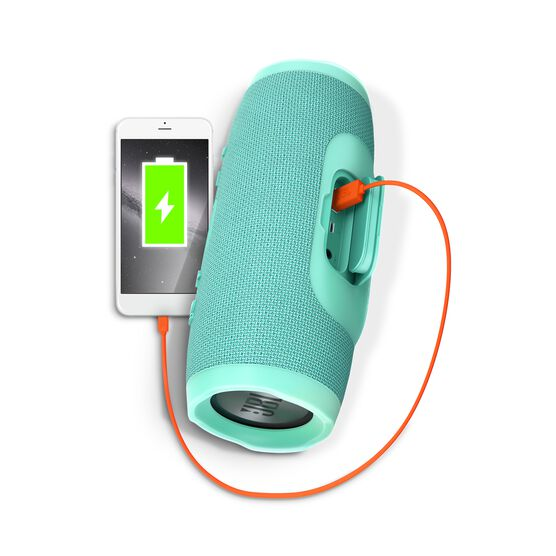 JBL Charge 3 - Teal - Full-featured waterproof portable speaker with high-capacity battery to charge your devices - Detailshot 1