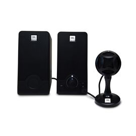 WFH100 - Black - USB powered speakers and Mini USB Microphone Bundle - Hero