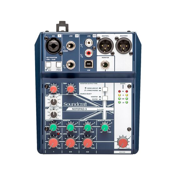Notepad-5 - Dark Blue - Small-format analog mixing console with USB I/O - Front