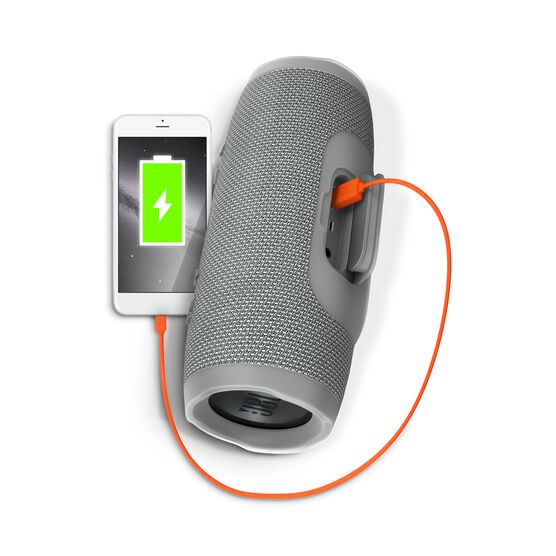 JBL Charge 3 - Grey - Full-featured waterproof portable speaker with high-capacity battery to charge your devices - Detailshot 1