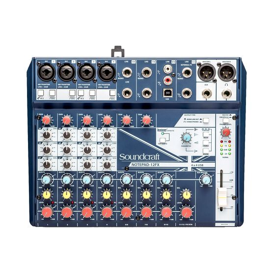 Notepad-12FX - Dark Blue - Small-format analog mixing console with USB I/O and Lexicon effects - Front