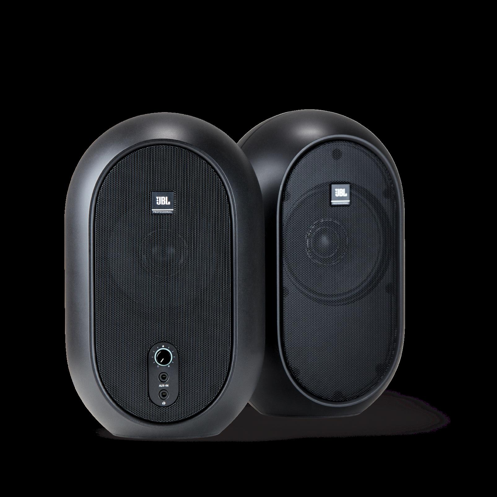 JBL One Series 104 (Pair) - Black - Compact Powered Desktop Reference Monitors - Hero