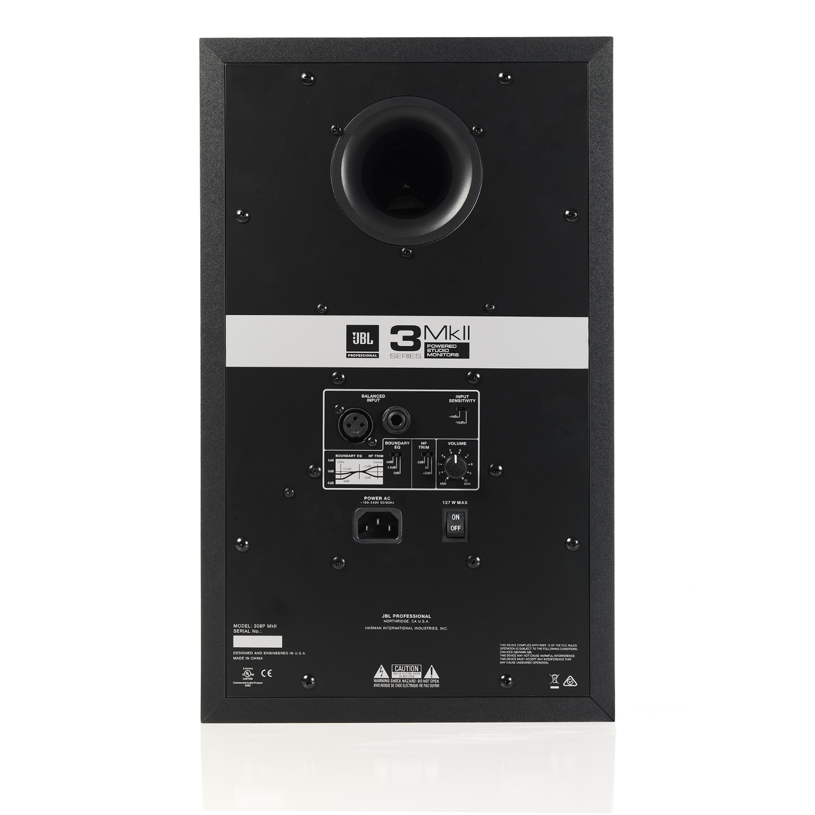 "JBL 308P MkII - Black - Powered 8"" Two-Way Studio Monitor - Back"