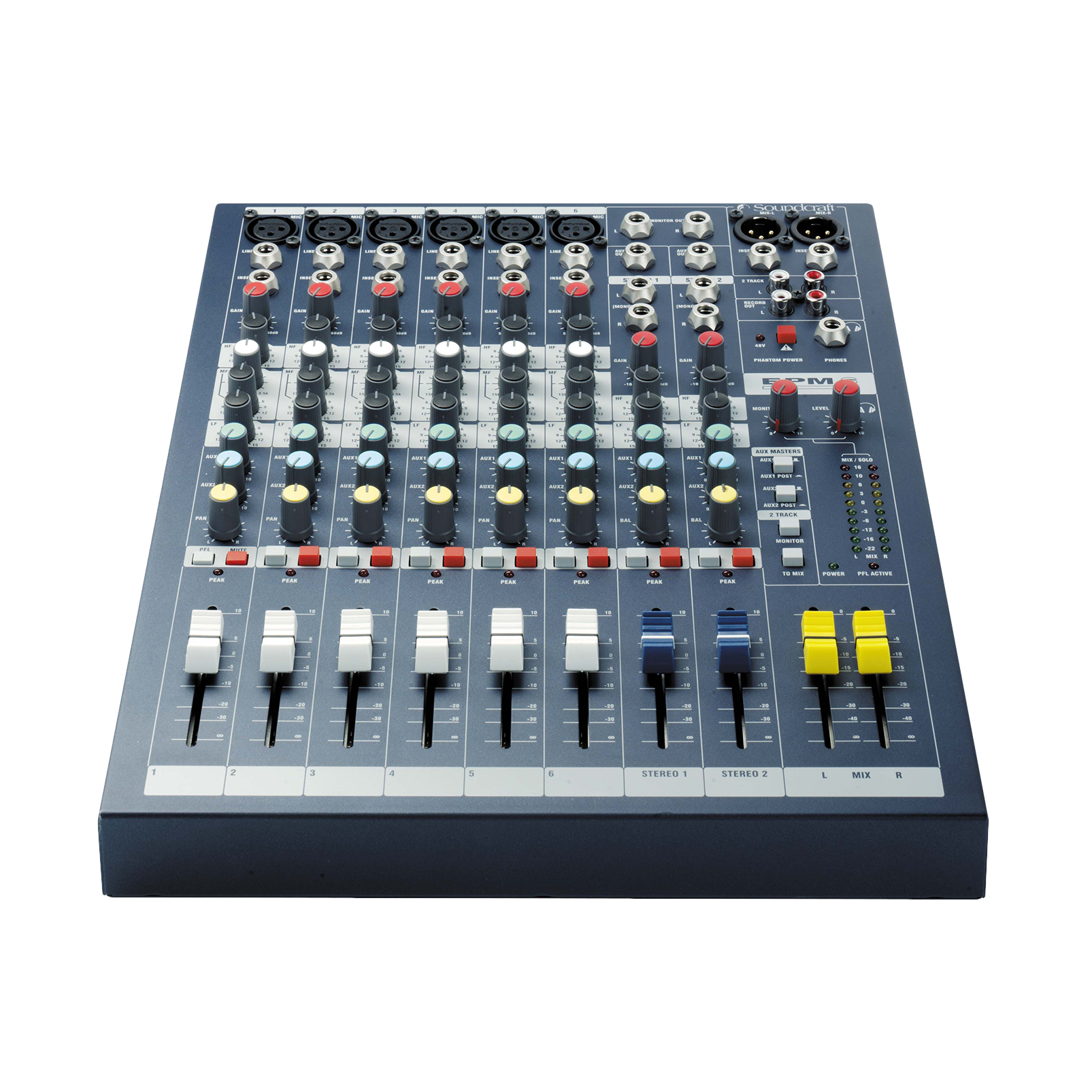 EPM6 - Dark Blue - A multipurpose mixer that carries the hallmarks of Soundcraft's professional heritage. - Detailshot 1