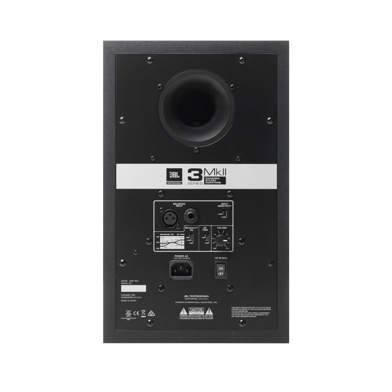 "JBL 306P MkII - Black - Powered 6"" Two-Way Studio Monitor - Back"