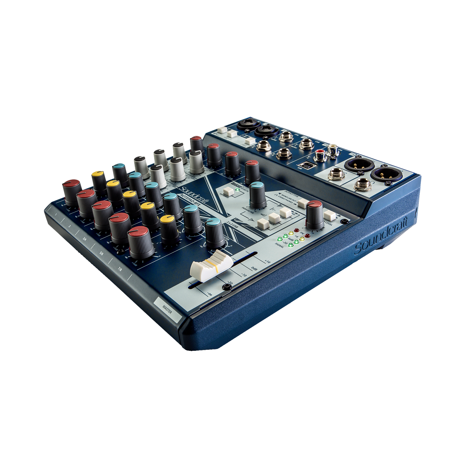 Notepad-8FX - Dark Blue - Small-format analog mixing console with USB I/O and Lexicon effects - Detailshot 1