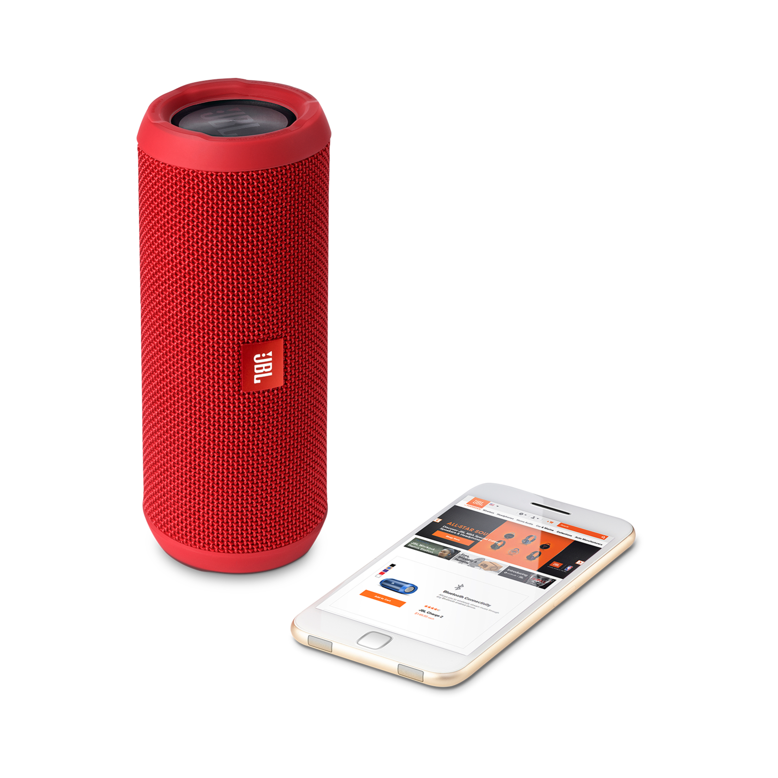 JBL Flip 3 - Red - Splashproof portable Bluetooth speaker with powerful sound and speakerphone technology - Detailshot 1
