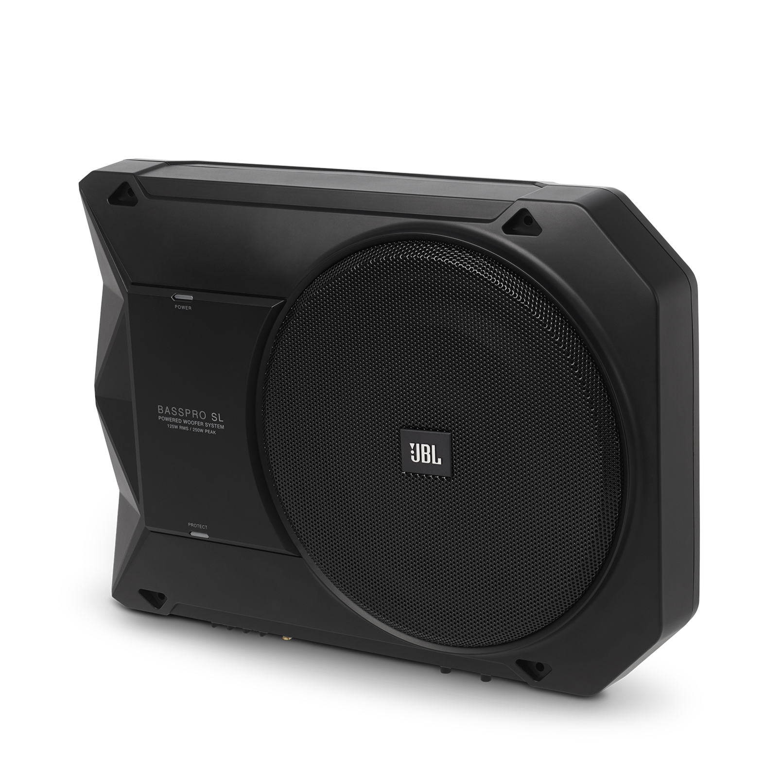 """BassPro SL - Black - Powered, 8"""" (200mm) car audio under seat woofer system - Hero"""