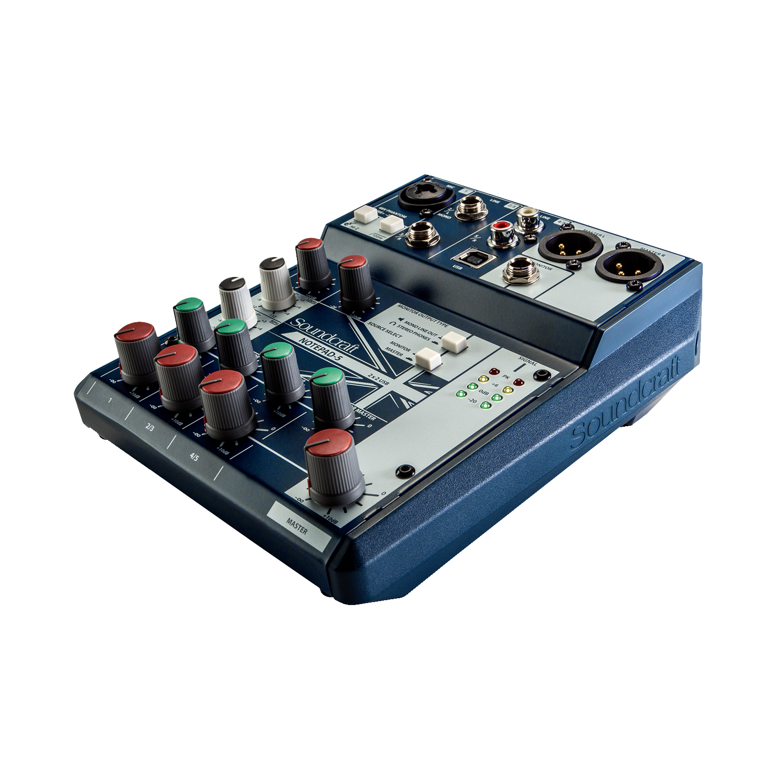Notepad-5 - Dark Blue - Small-format analog mixing console with USB I/O - Detailshot 1